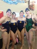 200 Medley relay first place winners at sectionals with a time of 151.65. From left to right: Ally Mayhew, Lydia Posick, Gretchen Posick, and Eleanore Hong.