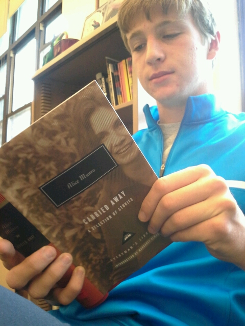 Will Hix (12) reads through Carried Away, a selection of Munro's short stories published in 2006.