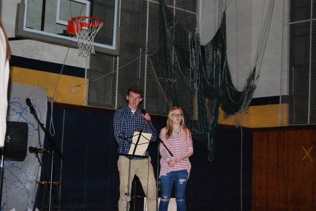 Logan Shafer (12) and Elizabeth Lutz  (11) acted as MCs for the evening. The two introduced  acts and told jokes in between performances.