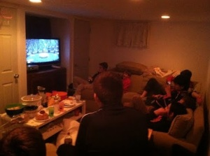Oakwood students watch the Super Bowl at a friends house. Watching the Super Bowl with family and friends has become a tradition in America and over 100 million people view the Super Bowl each year.