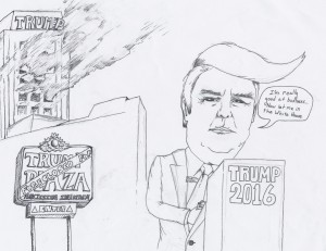 Donald Trump is  one of the lead candidates representing the Republican party. Trump has been at the  forefront of most of the controversy in the 2016 campaign. Cartoon by Henry Fulford